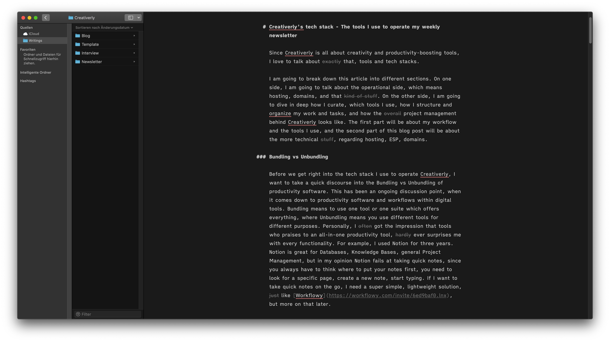 Screenshot of User Interface of iA Writer Mac App