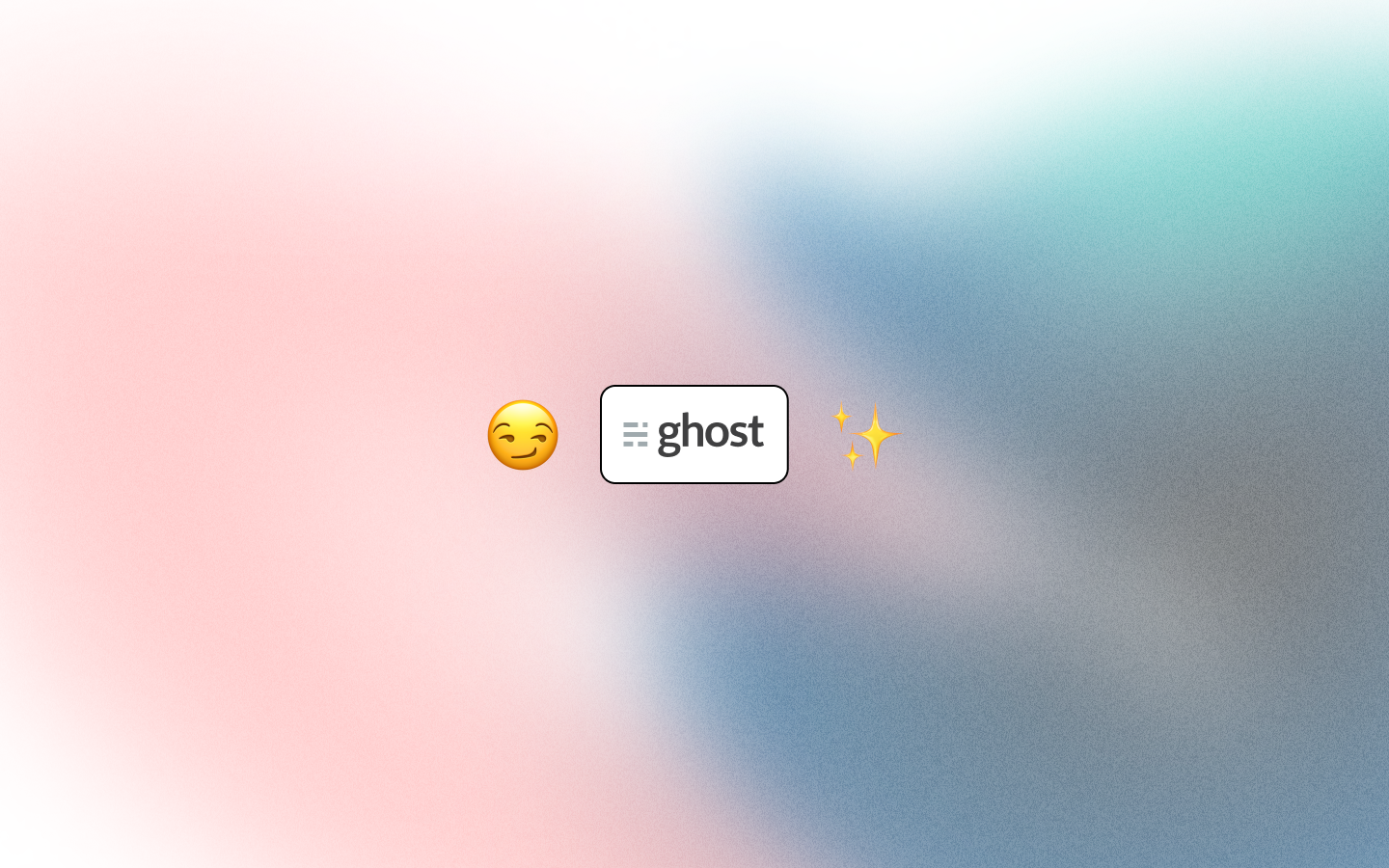 Ghost logo on white rounded rectangle between smirking face emoji and sparkles emoji on gradient background.