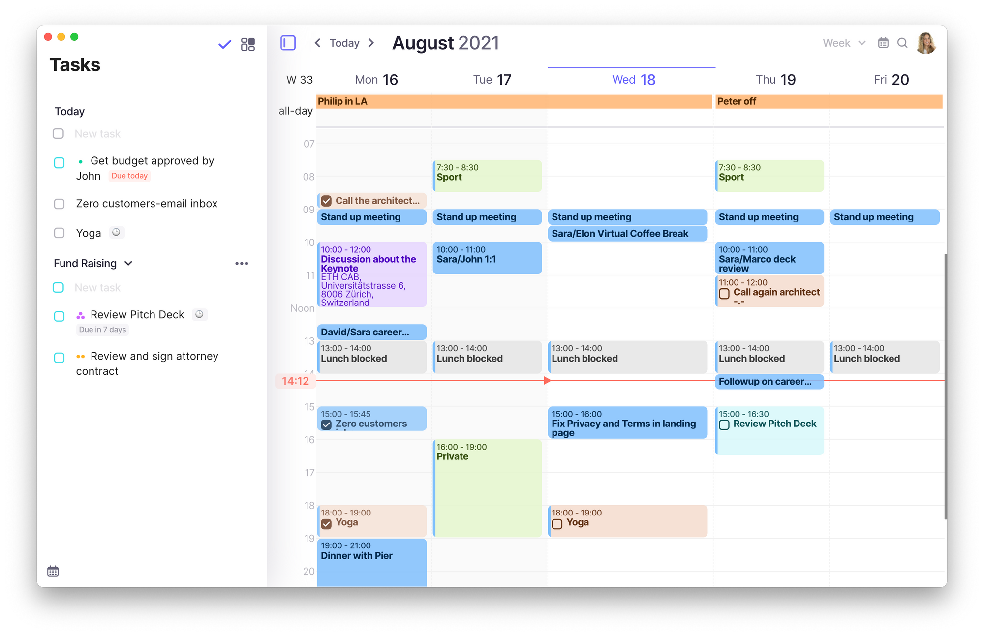 Screenshot of Morgen's interface displaying several tasks in the left sidebar and several events and meetings in the calendar view