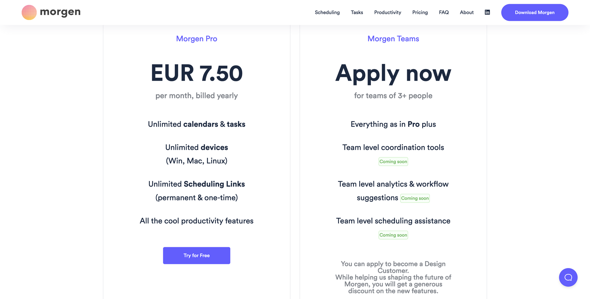 Screenshot of Morgen's pricing page