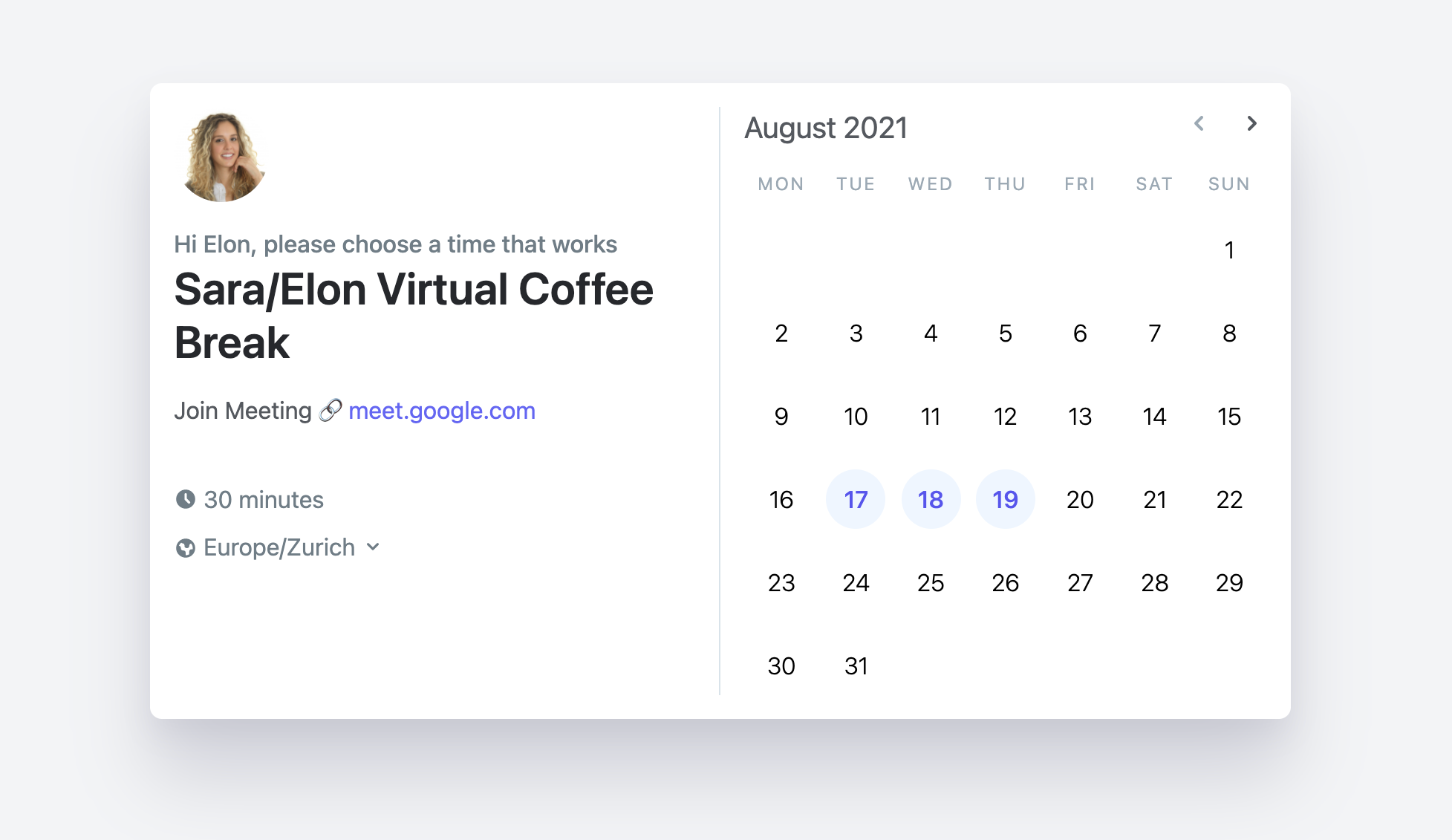 Screenshot of Morgen's date booking interface